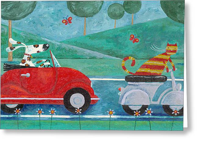 On The Road With Duke And Sweetpea Greeting Card by Peter Adderley