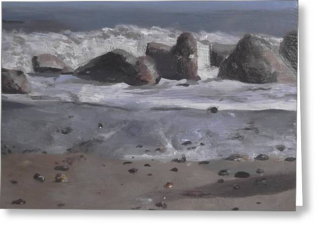 Greeting Card featuring the painting On The Rocks by Cherise Foster
