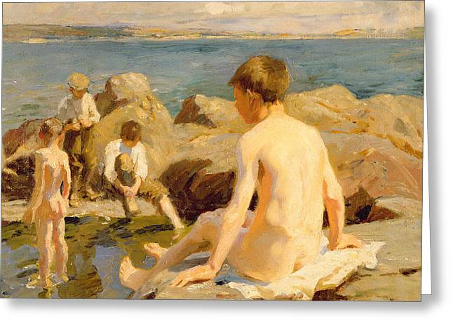 On The Rocks Near Newlyn Greeting Card by Harold Harvey
