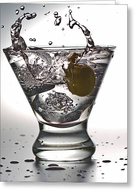 On The Rocks With Olive Splash Greeting Card