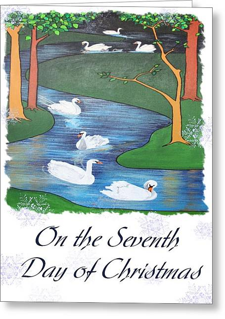 On The Seventh Day Of Christmas Greeting Card by Tracey Harrington-Simpson