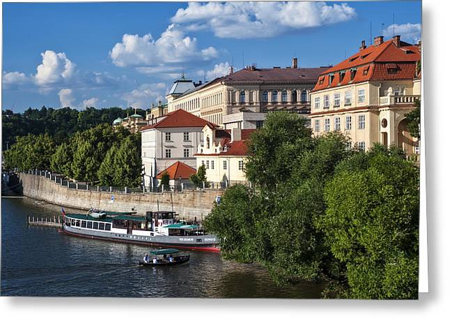 On The Shore Of Vltava. Prague Greeting Card by Jenny Rainbow