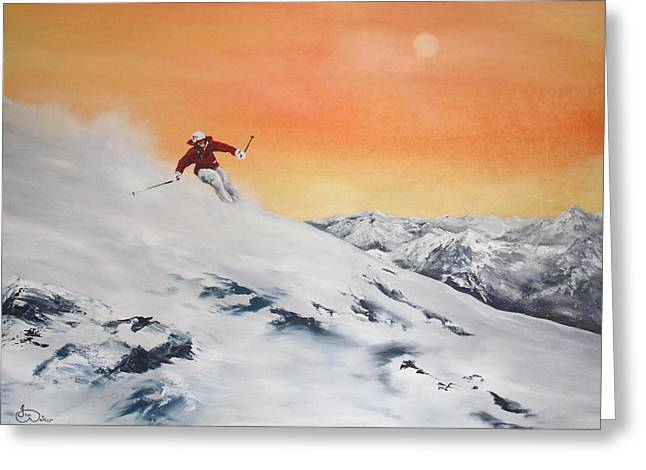 On The Slopes Greeting Card by Jean Walker