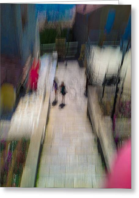 Greeting Card featuring the photograph On The Stairs by Alex Lapidus