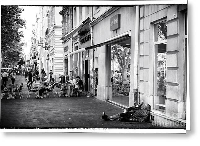 On The Streets Of Marseille Greeting Card by John Rizzuto