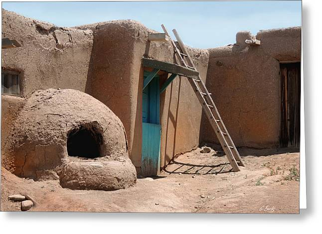 On The Taos Pueblo Greeting Card by Gordon Beck