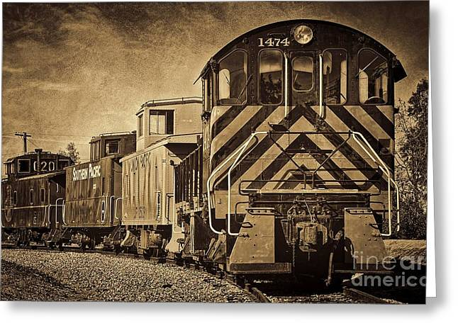 On The Tracks... Take Two. Greeting Card by Peggy Hughes