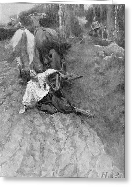 On The Warpath, Illustration From Colonies And Nations By Woodrow Wilson, Pub. In Harpers Magazine Greeting Card by Howard Pyle