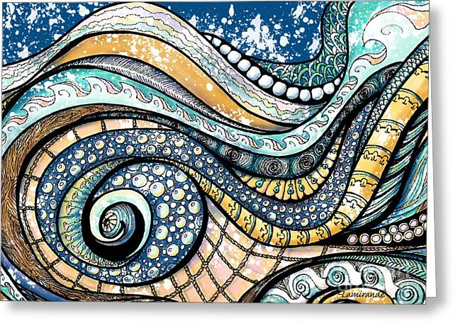 On The Wave - Sur La Vague Greeting Card by Louise Lamirande