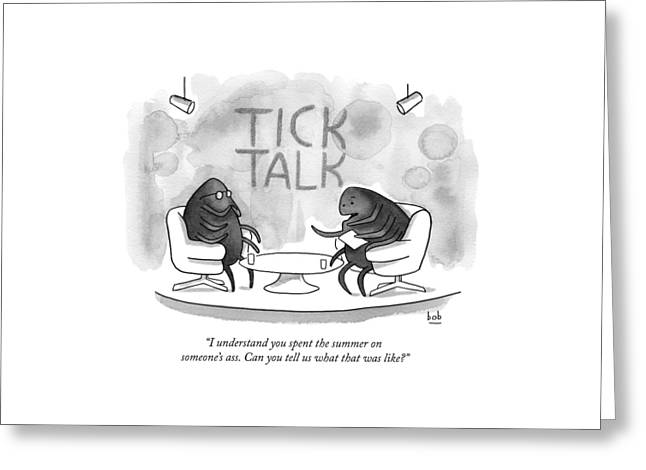 On Tick Interviews Another On A Talk Show Called Greeting Card by Bob Eckstein