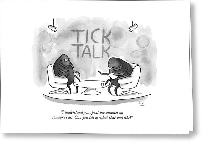On Tick Interviews Another On A Talk Show Called Greeting Card