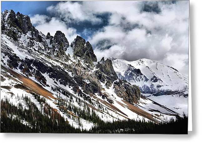 On Top Of The Rockies Greeting Card by Rebecca Adams