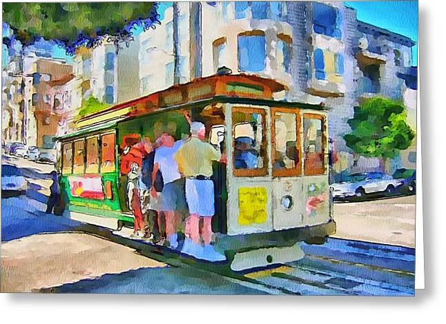 On Tram In San Francisco Greeting Card by Yury Malkov