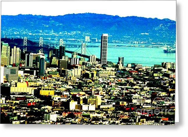 On Twin Peaks Over Looking The City By The Bay II Greeting Card by Jim Fitzpatrick