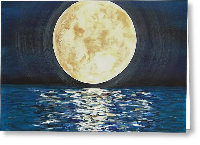 Greeting Card featuring the painting Once In A Very Blue Moon by Cindy Micklos