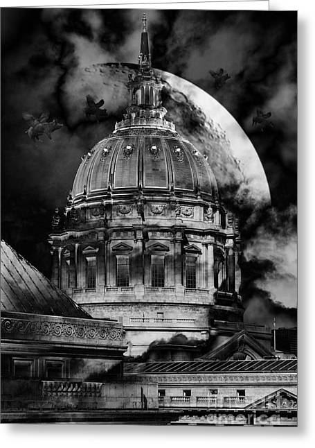 Once Upon A Time On A Warm Summers Night In San Francisco 5d22548 Black And White Greeting Card by Wingsdomain Art and Photography