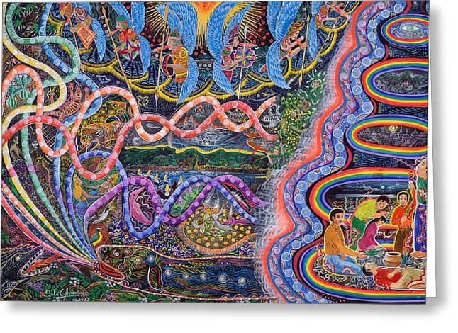 Amazonian Art Greeting Cards - Ondas de la Ayahuasca Greeting Card by Pablo Amaringo