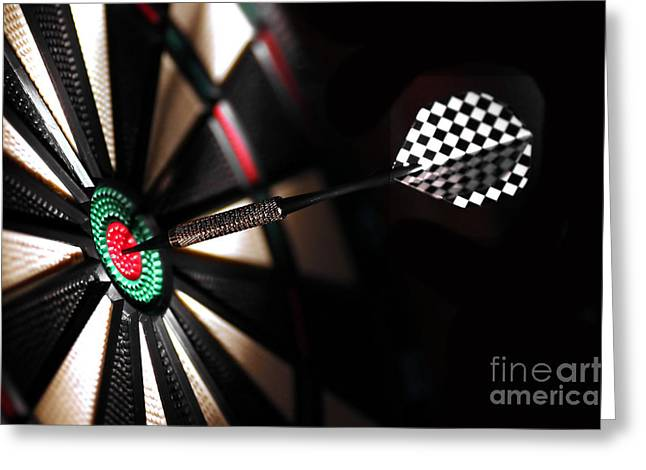 One Arrow In The Centre Of A Dart Board Greeting Card by Michal Bednarek