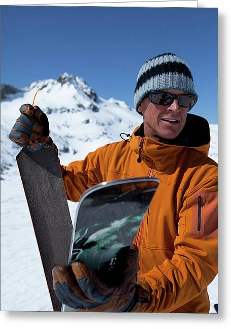 One Backcountry Skier Putting Skins Greeting Card