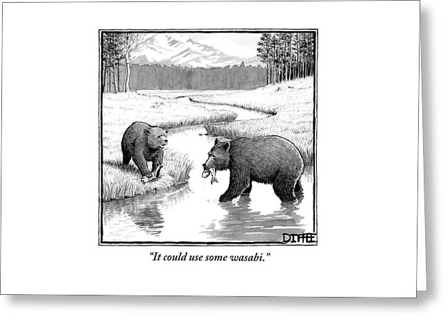 One Bear Speaks To Another As They Catch Fish Greeting Card