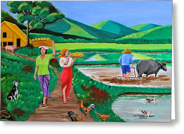 Greeting Card featuring the painting One Beautiful Morning In The Farm by Cyril Maza