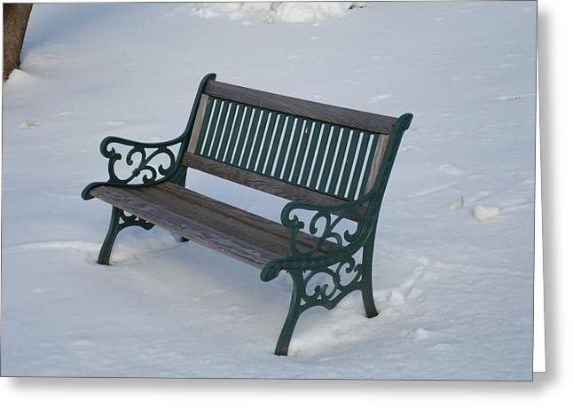 One Bench Greeting Card by Jenna Mengersen