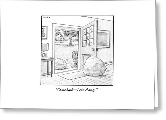 One Boulder Speaks To Another Boulder That Greeting Card by Harry Bliss