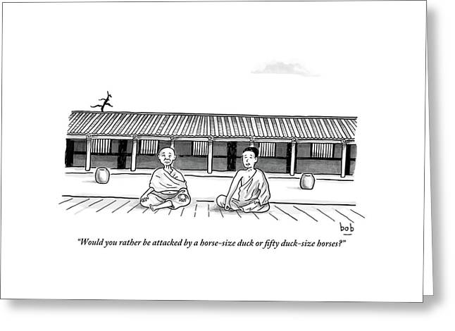 One Buddhist Monk Asks Another While Meditating Greeting Card by Bob Eckstein