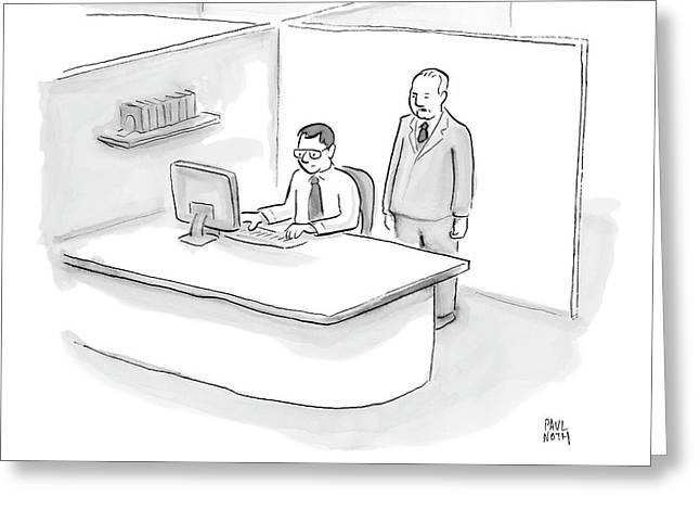 One Businessman Standing Behind A Desk Speaks Drawing By