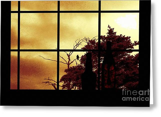 One Crow Outside My Window Greeting Card by Barbara Griffin