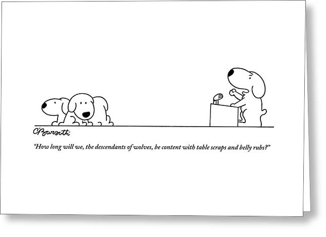One Dog Speaks On A Podium To Several Greeting Card