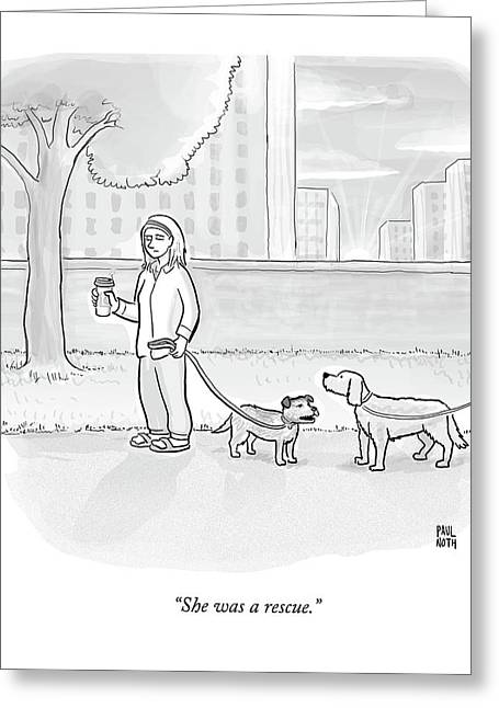 One Dog Talks To Another Greeting Card