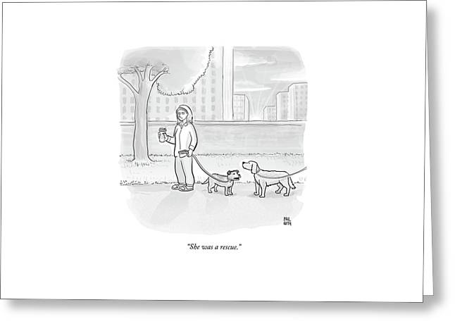 One Dog Talks To Another Greeting Card by Paul Noth