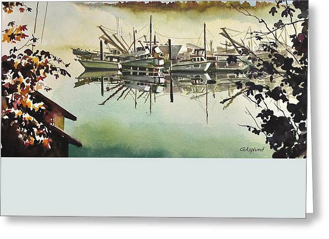 Gig Harbor Foggy Morning View Greeting Card
