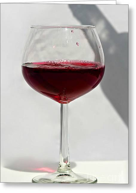 Greeting Card featuring the photograph One Glass Of Red Wine With Bottle Shadow Art Prints by Valerie Garner
