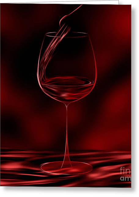 One Glass Red Greeting Card