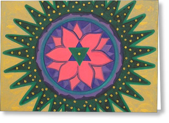 Greeting Card featuring the painting One Gold Bindu by Mini Arora