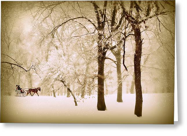 One Horse Open Sleigh Greeting Card by Jessica Jenney