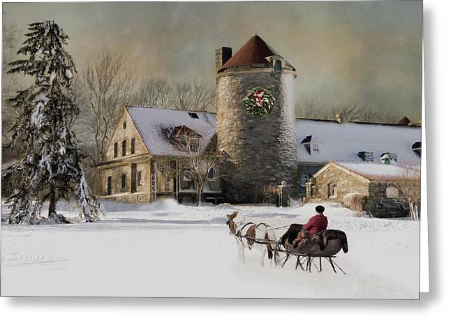 One Horse Open Sleigh Greeting Card