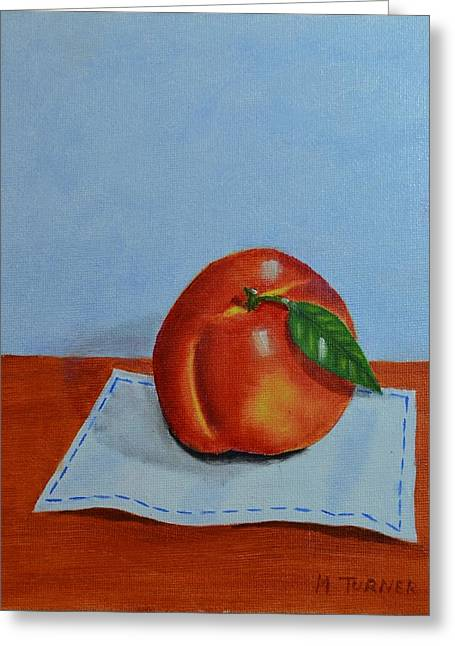 One Leaf Peach Greeting Card by Melvin Turner