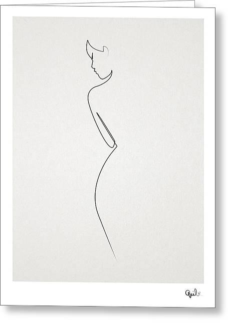 One Line Nude Greeting Card by Quibe Sarl