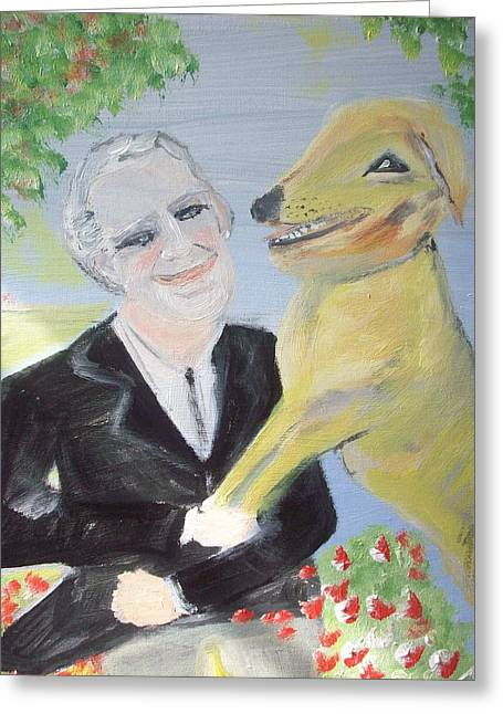 Greeting Card featuring the painting One Man And His Dog by Judith Desrosiers