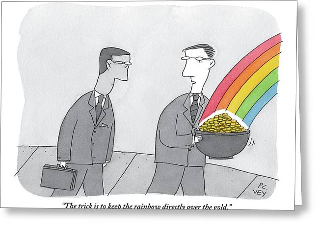 One Man  Holds A Pot Of Gold At The Tail End Greeting Card