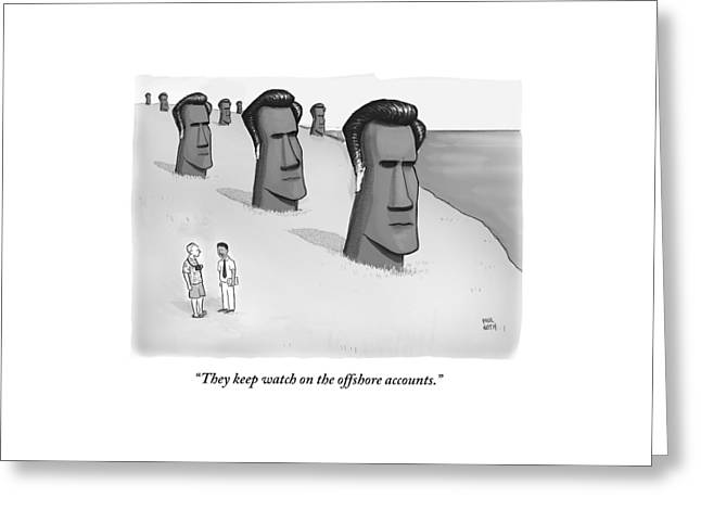 One Man Speaks To Another As They Stand In Front Greeting Card by Paul Noth