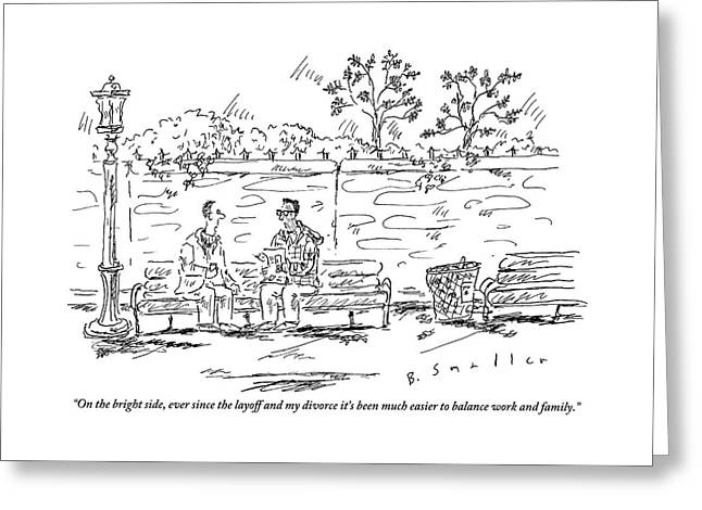 One Man To Another On A Park Bench Greeting Card