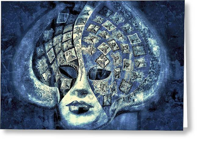 One Mask  - Blue  Greeting Card by Connie Handscomb