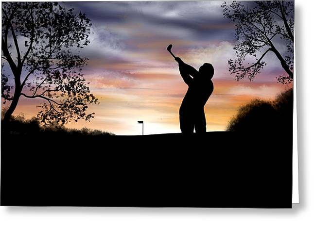 One More Hole - A Late Round Of Golf Greeting Card