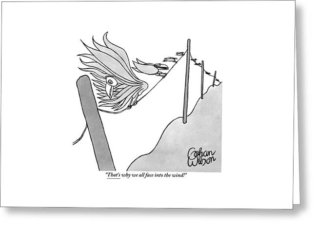 One Of Many Birds On An Electrical Wire Counsels Greeting Card by Gahan Wilson