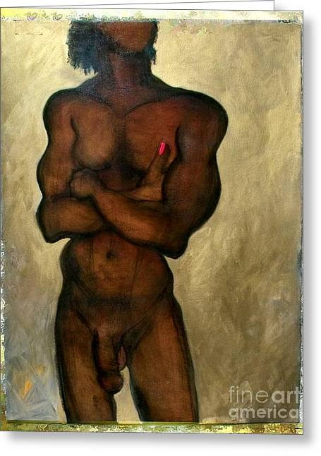 Greeting Card featuring the painting One Of The Three Wise Men - Male Nude by Carolyn Weltman