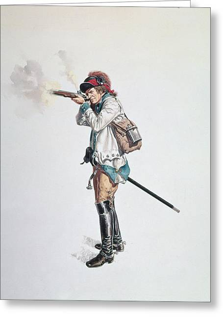 One Of Washingtons 3rd Continental Dragoons Wc On Paper Greeting Card by American School